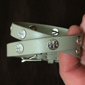 Gray Tory Burch Double Wrap Logo Leather Bracelet